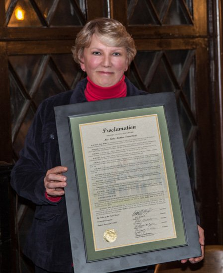 Cazenovia Town Clerk Linda Mather, who will retire at the end of the year, was honored by the Cazenovia Town Board at its Dec. 9 meeting.