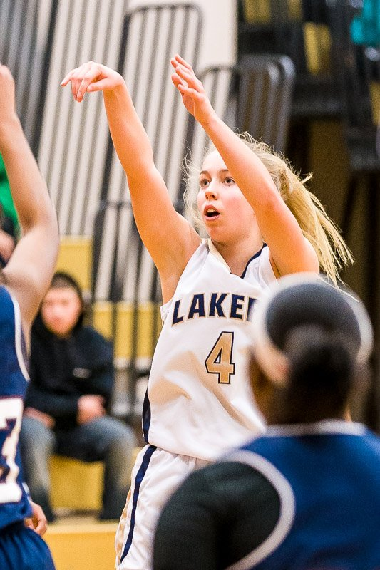 Skaneateles guard Elizabeth Lane (4) would key the Lakers' victory in last weekend's Fabius-Pompey Tournament, earning 11 points in a 87-43 rout over Syracuse Academy of Science and 21 points in the final, where the Lakers beat the undefeated host Falcons 63-45 for its sixth win in a row.