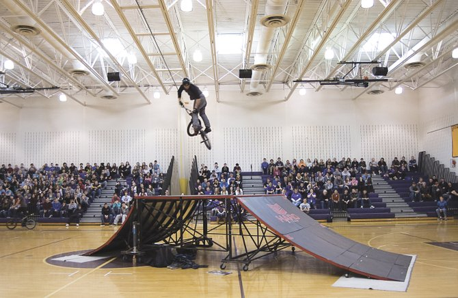 The Rise Above BMX team entertained Voorheesville High School students by performing various tricks in the gymnasium during the district's Wellness Day on March 21.