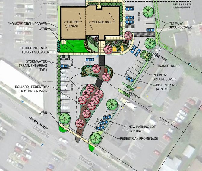 A site plan for the reconstruction of the parking lot surrounding the village hall. The new design is meant to make the property more appealing and will increase accessibility for pedestrians.