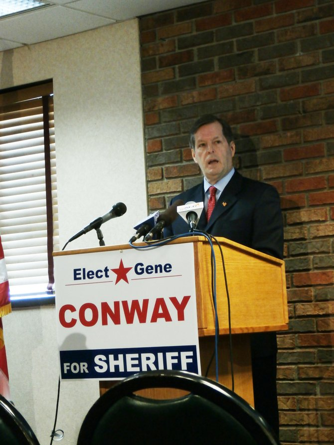 DeWitt Police Chief Eugene Conway announced his candidacy for Onondaga County Sheriff this morning at Tony's Restaurant.