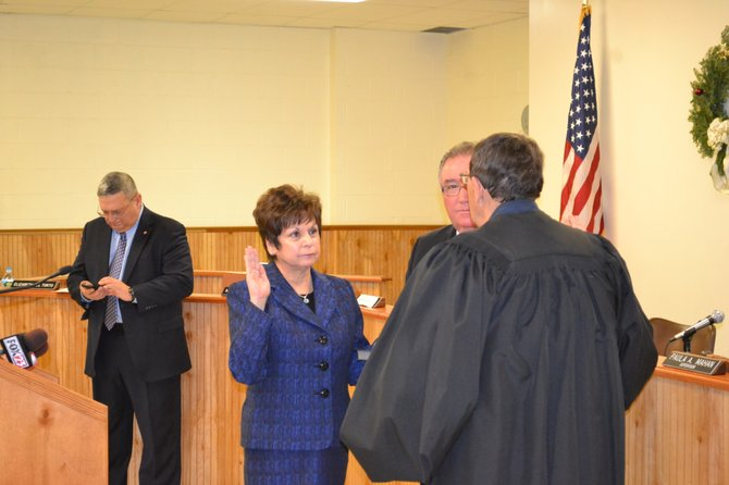 Colonie Supervisor Paula Mahan is sworn in for another term on Friday, Jan. 2. Mahan said she was proud that her administration has been able to get the town's financial house in order.