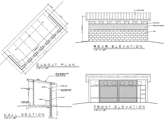 Drawings of the dugouts to be built at Sims Field in Austin Park. The dugouts include a band of engraved bricks which are being sold to raise money for construction costs.