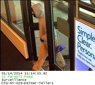 Surveillance cameras show the suspect in a bank robbery at Citizens Bank on Delaware Avenue in Delmar that took place around 11 a.m. today (Jan. 14).