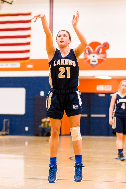Skaneateles guard Sarah Tomlinson (21) takes a free throw in last Tuesday night's game at Solvay. Finishing with eight points, Tomlinson helped the Lakers beat the Bearcats 52-28 for its 10th win in a row, though that win streak would end two nights later in a 54-52 overtime defeat to Cazenovia.