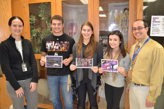 Science Honor Society advisor Meghan Reichel, F-M seniors Calvin Stauffer, Sarah Shaneen, Kelly Muller and SHS advisor Ben Gnacik have been organizing Relay For Life since September. The event will be held on May 31 at F-M High School.