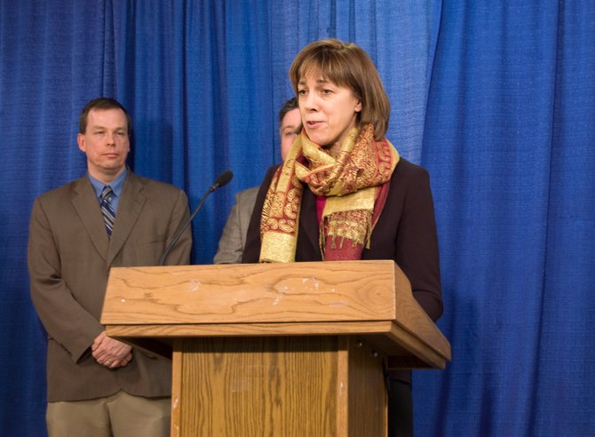 Sen. Cecilia Tkaczyk, D-Duanesburg, speaks Wednesday, Jan. 29, about legislation she recently introduced to move state primaries to the end of June to coincide with federal primaries.