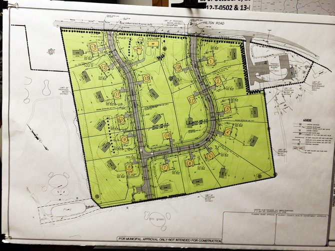 A site plan presented during the New Scotland Planning Board meeting on Tuesday, March 4, displays the approved residential development known as the LeVie Farm subdivision.