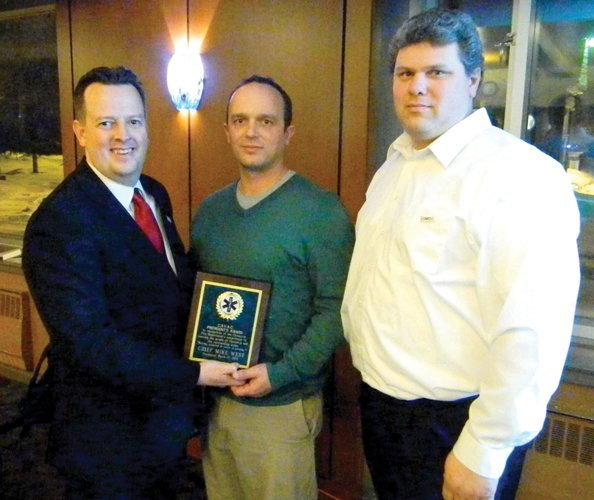 CAVAC President Greg Widrick, left, awarded the CAVAC President's Award to the members of the Cazenovia Fire and Rescue during CAVAC's 40th annual banquet last week. The award was accepted for the fire department by Second Assistant Chief Jay Kelchner, middle, and Second Lieutenant Mike Wood.
