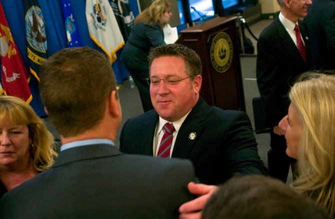 Albany County Executive Dan McCoy greets guests after his annual State of the County address Monday, March 10.