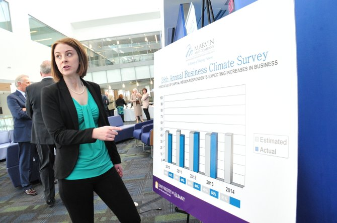UAlbany senior Rebecca Shost, of Clifton Park, who along with School of Business professor Yakov Crnkovic, compiled data for this year's Business Climate Survey. Shost is majoring in information technology management and is using the data for her undergraduate research project.