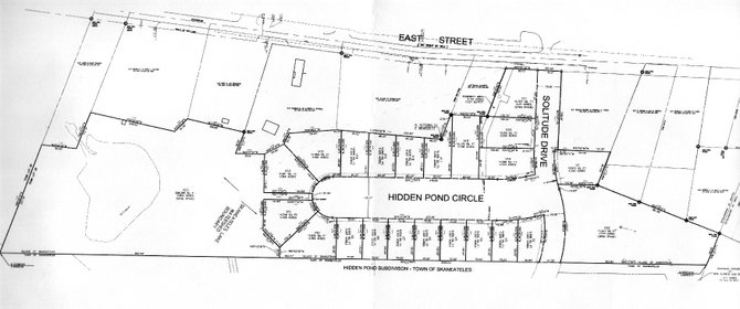 The designs for 'Hidden Pond,' a proposed 21-house subdivision in the village off of East Street.
