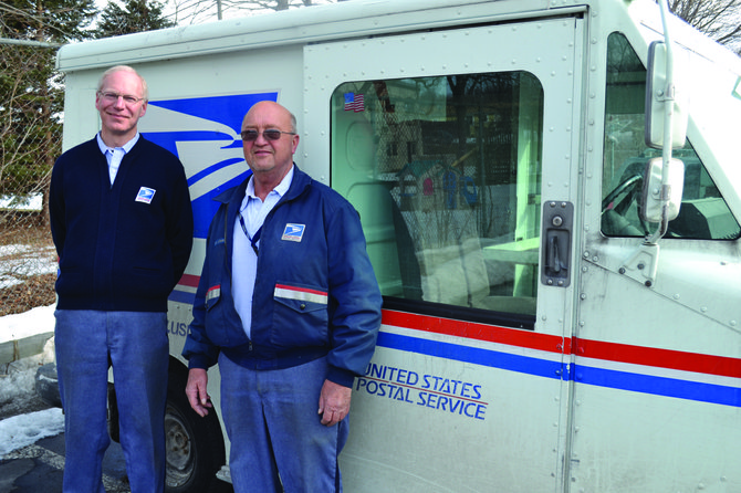 Rich Adams and Ron Barnwell have been delivering letters to the Maple Drive and Salt Springs neighborhoods in Fayetteville for years. On April 3, they will retire after 31 years of service to the village.