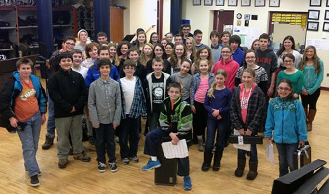 Some of the 46 Cazenovia students who attended the MCMEA All-County Spring Music Festival, held March 14 through 15 in Stockbridge.