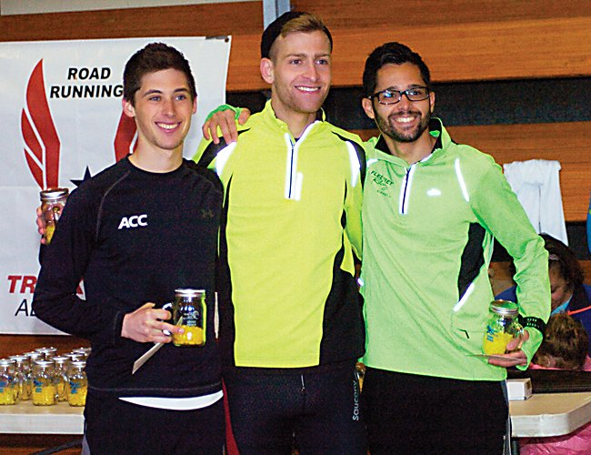 From left, Louis Serafini, Macky Lloyd and Ricardo Estremera led the way at the 2014 Delmar Dash Sunday, April 6. All three ran sub 25-minute times, which is believed to be a record for the current course. Serafini finished first with a time of 24:43.