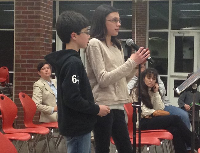 Bethlehem sixth-graders Aidan McNay and Morgan Leonard speak out against the proposed phase out of the Chinese program at the middle school and high school on Wednesday, April 8.
