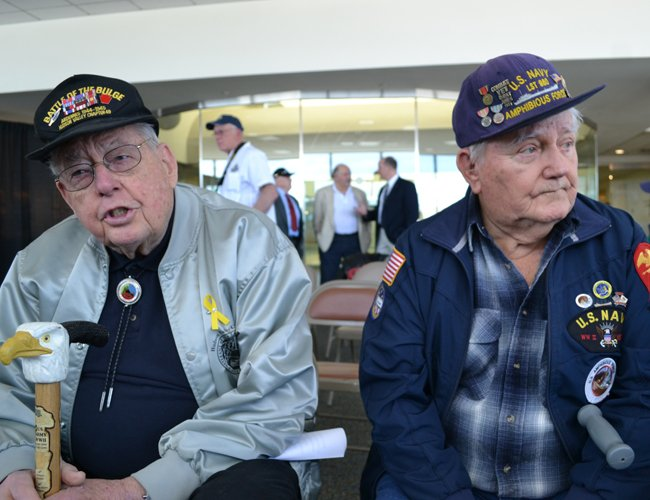 Allen Atwell, left, of Clifton Park and Art Hamilton, WWII veterans, attended a press conference for the Patriot Flight Inc.