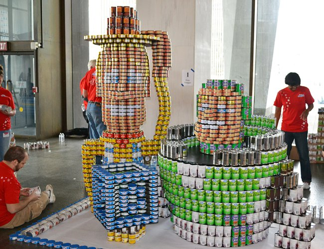 "Crews assemble a scene from ""Toy Story""  for the Canstruction exhibit at the New York State Museum, which will be on display through April 24."