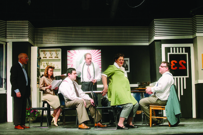 """The cast of """"Laughter on the 23rd Floor"""" – Lanny Freshman, Crystal Rowlands, Dan Rowlands, Edward Mastin, Gina Lynne Fortino and the versatile Jim Uva. The Neil Simon comedy runs through May 3, at CNY Playhouse, in DeWitt's ShoppingTown Mall. The art deco set was designed by Navroz Dabu."""