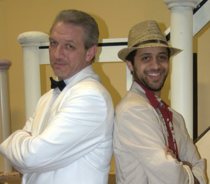 "Actors Rob Searle and Maxwel Anderson star as dueling gigolos in Baldwinsville Theatre Guild's ""Dirty Rotten Scoundrels,"" a musical comedy running through May 10, at the First Presbyterian Education Center, 64 Oswego St.; 877-8465."