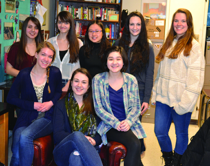 From the left, in the first row are 2014 Scholastic Arts & Writing Award winners Megan Hill, Caroline Withers and Jade Miller. In the second row, from the left, are Laura Duntley, Amanda Duntley, Danielle Levinson, Maddie Byer and Lainie La Ronde.