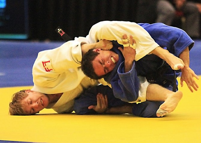 """Brad Bolen (white) submits Spencer Augustine in the 66kg with his signature """"Bolen Arrow"""" choke final to claim his 2nd US National Judo Championship in Reno, Nevada last weekend."""