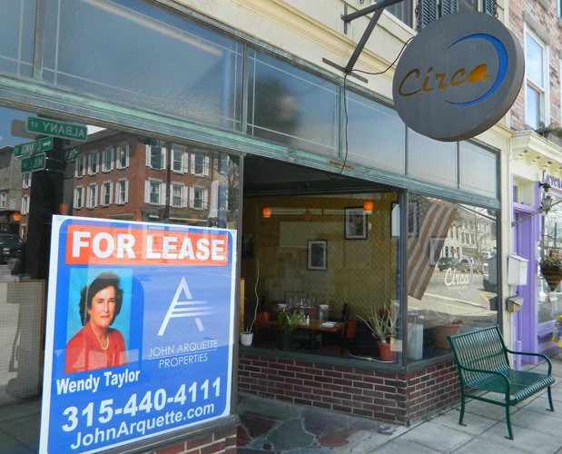 "A ""For Lease"" realty sign is now up in the front window of Circa. The restaurant's lease expires May 31 and owner Alicyn Hart is looking for a new location."