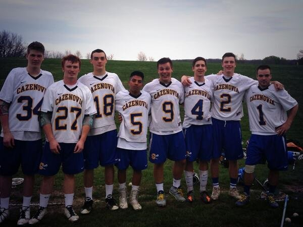 Cazenovia's senior boys lacrosse players were honored before  Monday night's regular-season finale against Skaneateles, a 14-10 victory that completed an undefeated regular season. From left: Luca Kraemer, Mike Nourse, Jeremy Maxwell, Kevin Porter, Pat Karmis, Trevor Cross, Henry Mann, Jay Hahn.