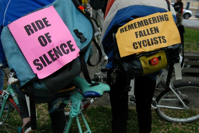 On Wednesday evening, May 21, Vermont Lt. Gov. Phil Scott (R) will lead Ride of Silence in the state capital to honor bicyclists who have been injured or killed in crashes involving motor vehicles. (Photo courtesy of Bike Portland)