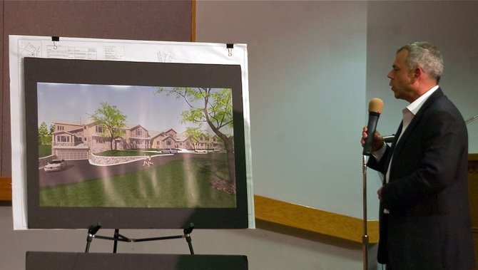 David Ingalls, principal at Ingalls & Associates, talks to the Guilderland Planning Board on Tuesday, May 14, about updates to Wolanin Companies proposed apartment complex off Western Avenue.