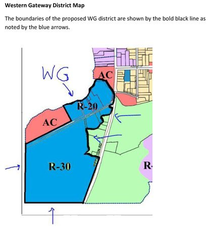 Part of the village zoning map that shows where the proposed Western Gateway district would go.