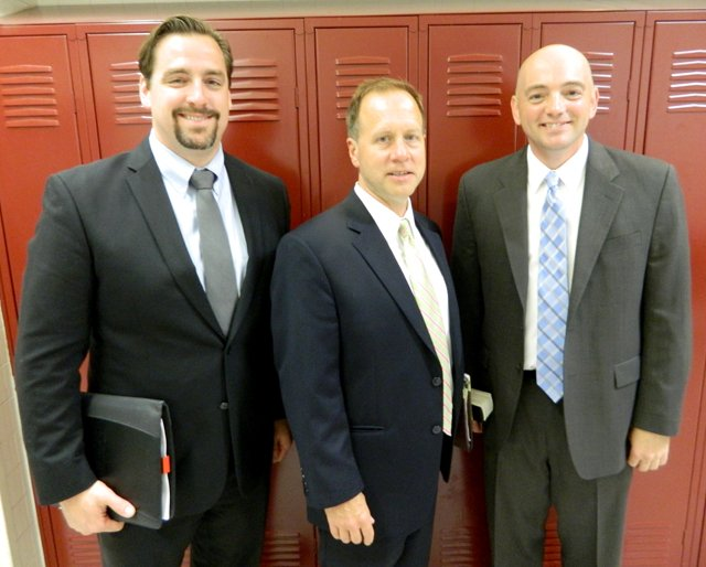 The Cazenovia Board of Education on June 16 appointed Eric Knuth, left, the new Cazenovia High School principal, and Terry Ward, right, the new director of special education. Incoming Cazenovia Superintendent Matt Reilly, middle, made the final selection choice for both positions.