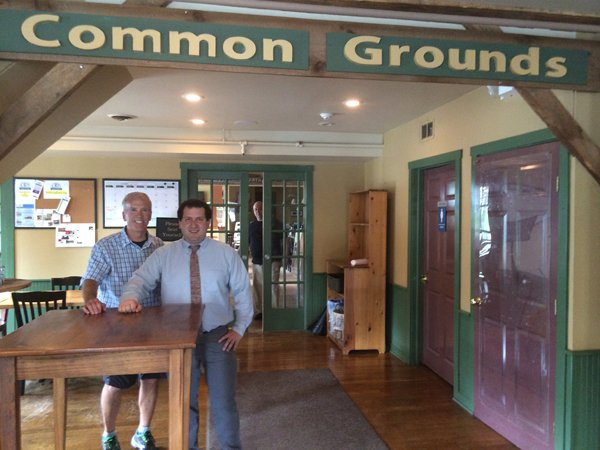Bob Hood, founder of Common Grounds, left, and John Dermody, the Common Grounds service learning coordinator, have been working during the past school year to build the Service Learning Program into a success.