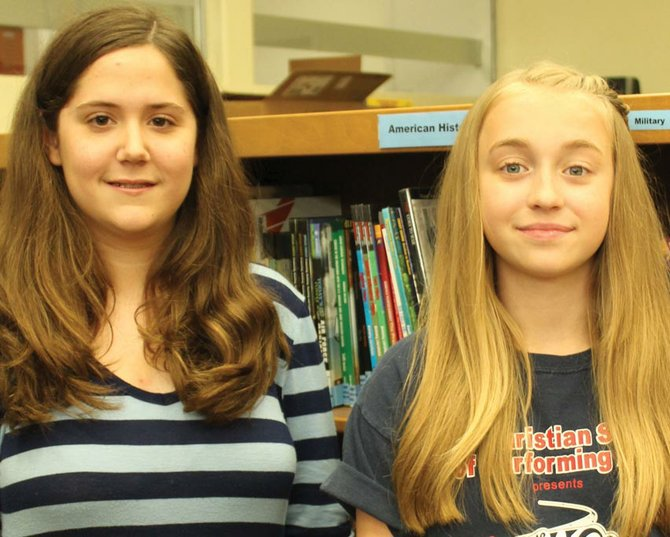 Abigail Christman, left, a seventh-grader at Ray Middle School, will attend the Bristol-Myers Squibb Science Horizons program this summer. Maggie Wiegand, also a seventh-grader, will act as an alternate if her classmate is unable to attend the program.