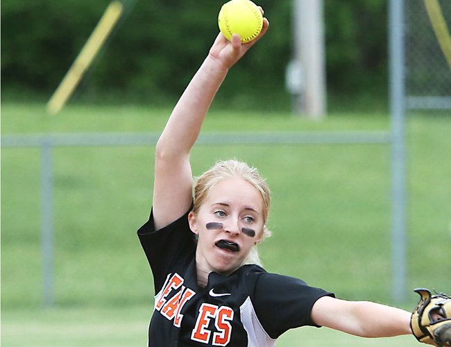 Bethlehem's Emma Downing pitched the Lady Eagles to their second Section II Class AA title in the last four years by limiting Columbia to one hit in a 1-0 victory May 31.