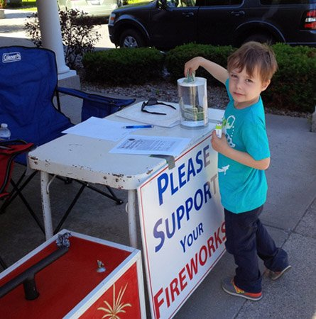 4-year-old Andy Franz donated money for the Cazenovia fireworks.