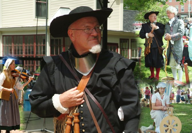 A collage of Vergennes French Heritage Day activities showing actor Don Thompson performing as Samuel de Champlain. He will appear in character at this year's French Heritage Days, July 12.
