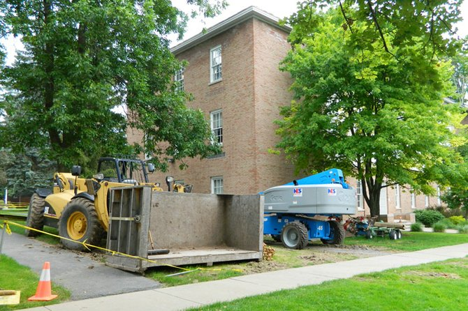 Eckel Hall, located on Lincklaen Street, is undergoing upgrades and modernizations this summer, with completion expected in August.
