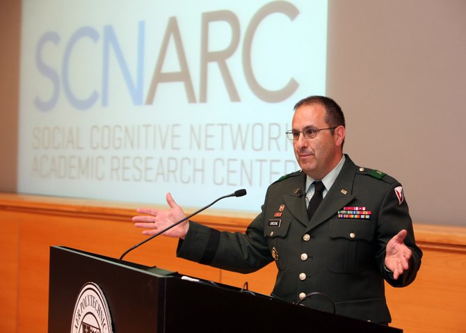Maj. Gen. Harold Greene, a Rensselaer Polytechnic Institute alumnus, speaks at the opening of RPI's Social Cognitive Networks Academic Research Center on May 3, 2010. Greene was killed Tuesday, Aug. 5, while serving in Afghanistan.
