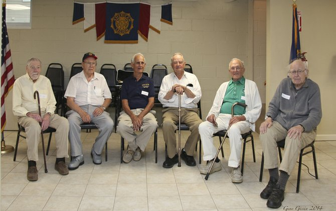 World War II veterans from the Cazenovia area attended an informal picnic and memorial ceremony at the Cazenovia American Legion Post 88 on Aug. 11. Pictured from left, Robert Cody, Cazenovia, U.S. Army; Roger Lewis, Cazenovia, U.S. Navy; C. Lester Davis, Erieville, U.S. Navy; Wallace Roher, Delphi Falls, U.S. Army Air Corps; Ken Sparks, Cazenovia, U.S. Navy; Karl Monson, Cazenovia, U.S. Army.