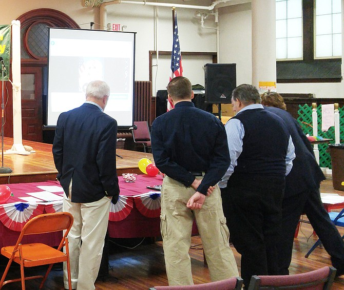 Members of the Green Mountain Wireless Society were at Christ the King School in Rutland on Feb. 4 to help set up a ground radio comm link with U.S. and Russian astronauts on the orbiting International Space Station.  (Eagle photo)