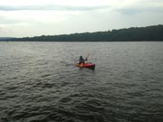 The Two Row Wampum Renewal Campaign flotilla stops for lunch at Henry Hudson Park in Selkirk on Sunday, July 28.